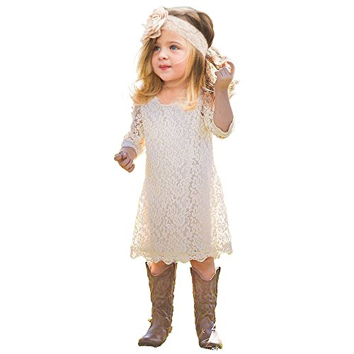 Topmaker Lace Flower Girl Dress (12-18 Month, Ivory) (Dress Flower Girl Lace)