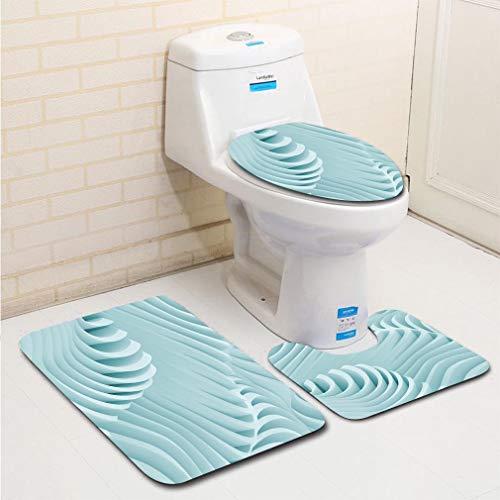 MTSJTliangwan 3-Piece Bathroom Set, Bathroom Rug + Contour pad + lid Toilet seat, Abstract Geometric Wallpaper Comfortable Flannel Rug ()
