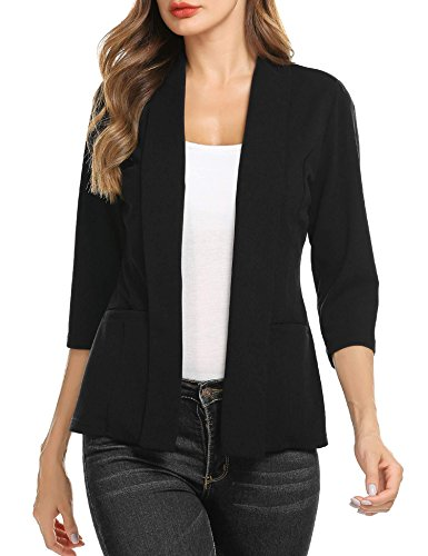 Concep Ladies Office Blazer Jacket Open Front Lightweight Plus Size Loose Casual Knit Cardigan Suits (Black, L) by Concep
