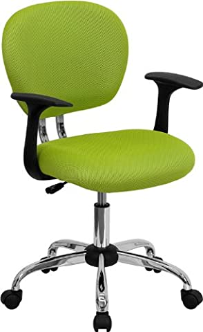 Flash Furniture Mid-Back Apple Green Mesh Swivel Task Chair with Chrome Base and Arms - Chair Chrome Base