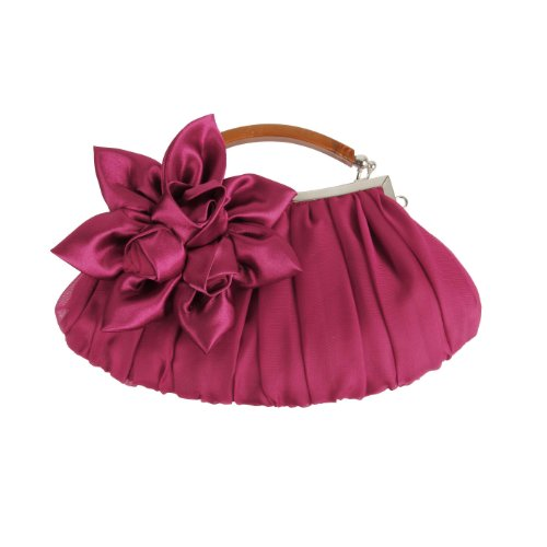 Bmc Fuchsia Exterior Embellish Sheer Party Clutch Floral Out Chiffon evening Collection SAwSqap