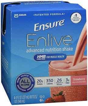Ensure Enlive Advanced Nutrition Shakes Strawberry, 16 - 8 oz bottles, Pack of 2