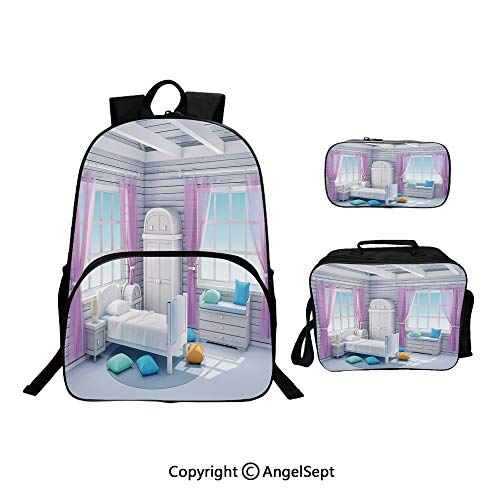 Hot Sale School Backpack For Girls 3 pcs per set,Dreamy Bedroom in Wooden House Countryside Mornings Lifestyle Image Lilac Purplegrey,With Lunch Box Pencil Bag Very Convinent