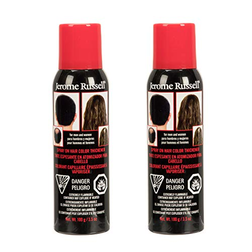 Jerome Russell Spray-On Color Black Hair Thickener 3.5 Ounce (103ml) (2 -