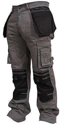 Newfacelook Mens Cargo Trousers Working Pants Cordura Knee Pockets Gray W36-L32