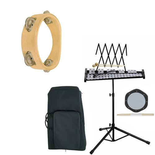 Band Directors Choice Educational Bell Kit Pack Deluxe w/Carry Bag, Drum Practice Pad & Sticks & Bonus Tambourine by Bell Kit Educational Packs