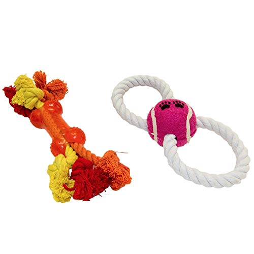 - Chew Ropes For Dogs & Puppies | Figure 8 Tennis Ball Tug-O-War Puller | Guaranteed | Teether Bone Rope | Interactive Pet Toys For All Breeds | Top Rated - #1 Seller | All Ages All Sizes