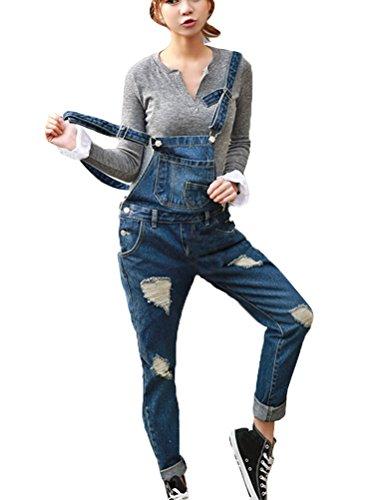 Elegante Strappati Denim Unita Ragazza Blu Sottile Runyue Lunga Jeans Pantaloni Tinta Salopette Casual Donne qHnwtUR