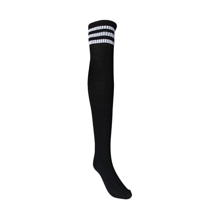 DOGZI Mujer Medias raya Calcetines largos de fútbol Acerca de los calcetines De punto de arco iris Invierno Para calentar Calcetines largos Muslo altas ...