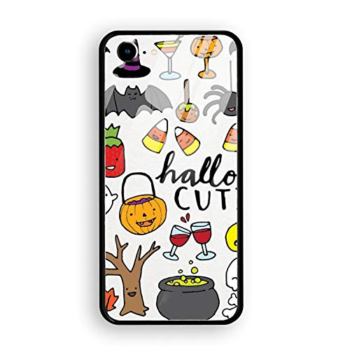 Cute Halloween Clipart Custom iPhone 7 Cover Slim Fit Hard Tempered Glass Compatible for iPhone 7 Case 4.7