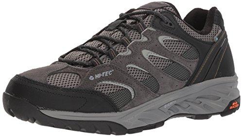 Hi-Tec Men's V-LITE Wild-FIRE Low I Waterproof Hiking Shoe, Charcoal/Grey/Olive Night, 090M Medium - I-tec Leather