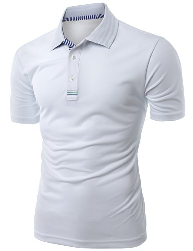 Men's Daily Casual Wear Twisting Jacquard Polo Collar T-Shirt KWTTS093M_WHITE M