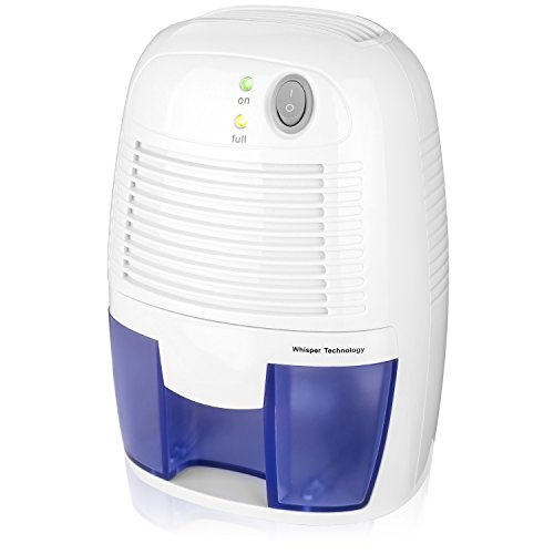 A White, mini-size, portable dehumidifier with blue details.
