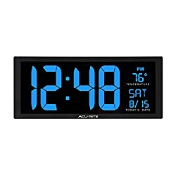 AcuRite 75152M Oversized Blue LED Clock with Indoor Temperature, Date and Fold-Out Stand, 14.5-Inch
