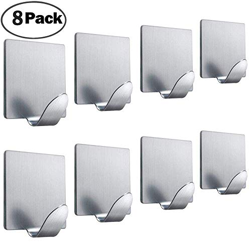 FOTYRIG Adhesive Hooks Wall Hooks Hangers Heavy Duty Stainless Steel Waterproof Bathroom Kitchen Hooks for Hanging Robe Coat Towel Kitchen Utensils Keys Bags-8 Packs