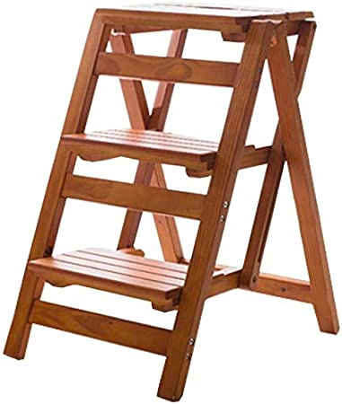 HOMRanger Escalera con peldaños Silla Taburete Multifunción Escalera Plegable de Madera Escalera Biblioteca para el hogar 3 peldaños Capacidad 150 kg: Amazon.es: Hogar
