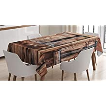 Rustic Tablecloth Decor by Ambesonne, Abandoned Damaged Oak Barn Door with Iron Hinges and Lateral Cracks Knock Theme, Dining Room Kitchen Rectangular Table Cover, 60W X 84L Inches, Light Rosewood
