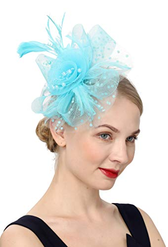 Cizoe Flower Cocktail Tea Party Headwear Feather Fascinators Top Hat for Girls and Women(1-light blue)