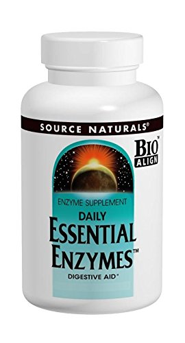 Source Naturals Essential Enzymes 500mg, Full spectrum digestion with 8 active enzymes, 60 Vegetarian Capsules