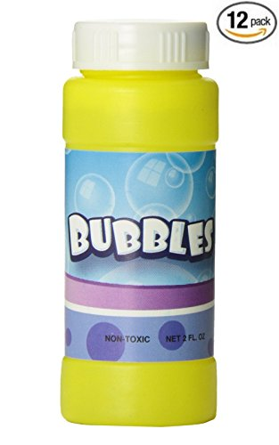 12 Pack 2 Fl Oz Bubble Bottles Replacement Refills Compatible with Haktoys Love Puppy, Dalmatian Dog, Regular, Fish, Dinosaur Bubble Guns Shooters - Colors May Vary (Wholesale Bubble Guns)