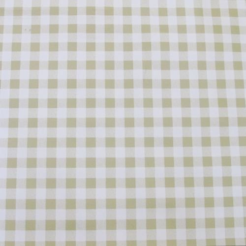 Wipe Clean Tablecloth Oilcloth Vinyl PVC Plastic Wipeable   1.4m ROUND  (BEIGE GINGHAM)