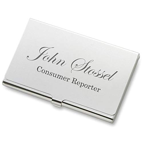 Personalized Silver Business Card Case Holder Engraved Free ()