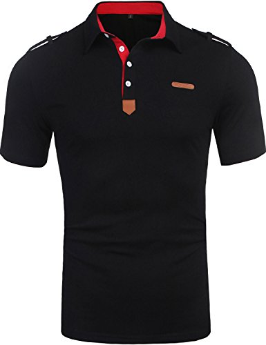 Daupanzees Men's Polo Shirts Fashion Solid Big and Tall 2018 Stylish Contrast Color Regular-Fit Solid Short Sleeve Jersey Polo Collar T Shirt (Black XXL) - Collar Polo T-shirt