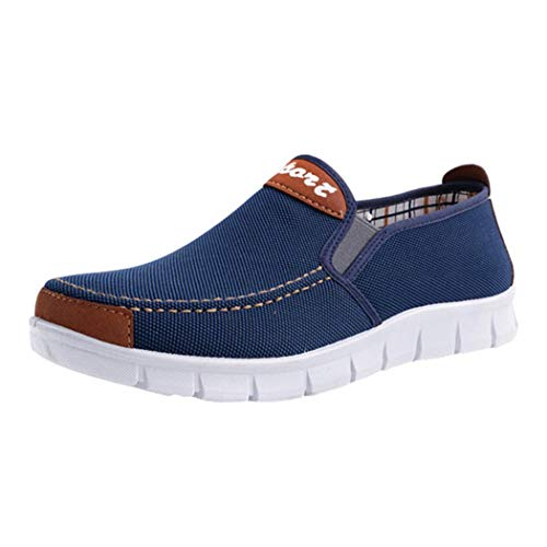 Boomboom Men Shoes, Fashion Men Soft Sole Flat Heel Canvas Casual Cloth Shoes Blue US 7