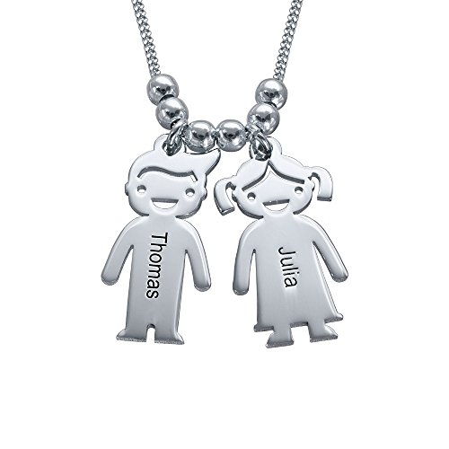 Personalized Children Charms Mothers Necklace-Engraved Boy Girl Charm Jewelry by MyNameNecklace (Image #6)