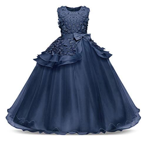 (Bestfive Big Girls Princess Dresses Kids Bridesmaid Communion Pageant Prom Ball Gown Navy Blue Size)