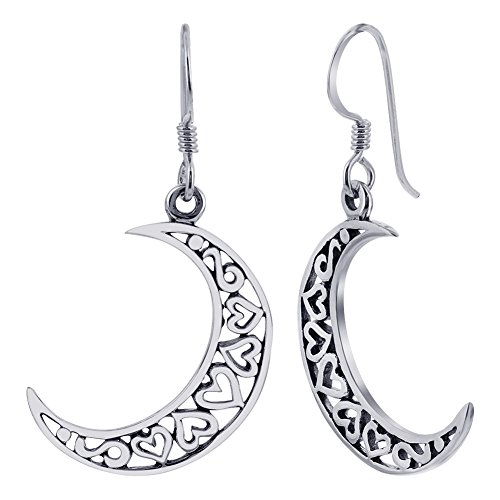Gem Avenue 925 Sterling Silver French Wire Hook Open Heart Half Moon Drop Earrings for women ()