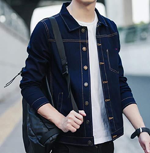 Down Mogogo blue Buttoned Denim Jean Short Turn Jacket Collar Mens Pockets Navy Coat qqOR6aw