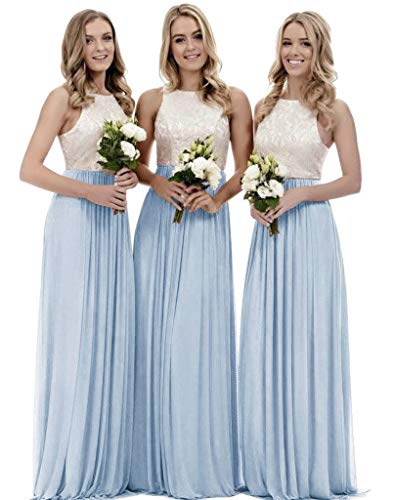 Women's A Line Top Lace Bodice Chiffon Long Bridesmaid Dress Wedding Party Gown Bady Blue Size 2 Bodice Chiffon Wedding Dress