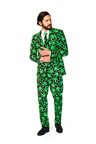 [OppoSuits Men's Cannaboss Party Costume Suit, Black/Green, 42] (Cleveland Costumes)