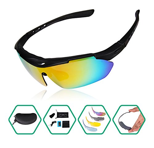 GARDOM Polarized Sports Sunglasses Lightweight Unbreakable UV-Resistant Sunglasses with 5 Interchangeable Lenses for Climbing Cycling Fishing Driving - In Sunglasses You Can Lenses Replace