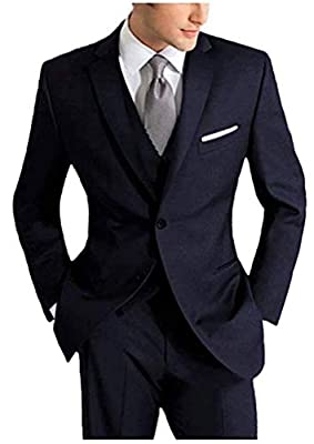 Men's 3 PC Peak Lapel Dark Navy Suits Slim Fit Groom Tuxedos Wedding Suits