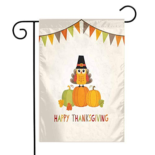 (Mannwarehouse Turkey Garden Flag Little Bird Sitting on Pumpkins with Pilgrims Hat Festive Autumn Holiday Design Premium Material W12 x L18 Multicolor)
