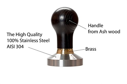 Coffee Tamper Elite for Espresso 53mm Black, Stainless Steel and Handle from Ash wood (53mm, Black)