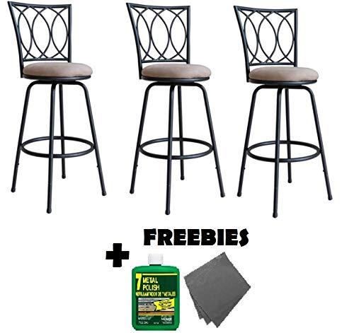 - Roundhill Furniture Redico Adjustable Metal Barstool, (3 Sets of Powder Coated Black Stool + FREEBIES)