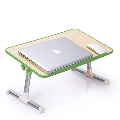 Delifox Bed Table Adjustable Laptop Desk, Portable Standing Table with Foldable Legs, Breakfast Tray Notebook Stand Reading Holder for Couch Floor, Green