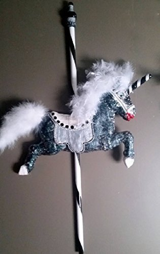 One-of-a-Kind Black Grey White Unicorn Carousel Horse Wall ()