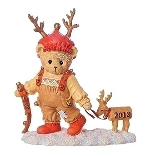 Roman Annual Teddie with Deer Cherished 4.25 inches Resin Figurine