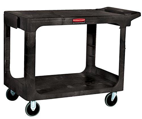 Rubbermaid Commercial 4525-BLA Heavy-Duty Flat Shelf Utility Carts, 500 lb, 44