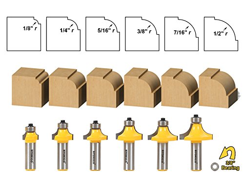6 bit Round over and Beading Router Bit Set - Yonico 13621 ()