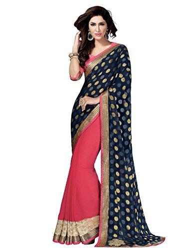 Shonaya. Women's Party Wear Butti & Patch Work Half & Half Saree With Unstitched Blouse Piece (Blue & Pink)
