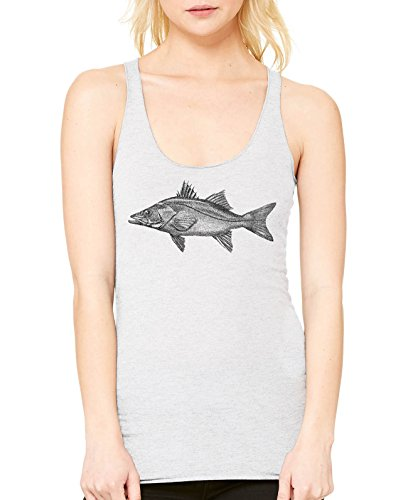 ass Fish Ladies Triblend Racerback Tank (White, X-Large) (Bass Womens Sleek)