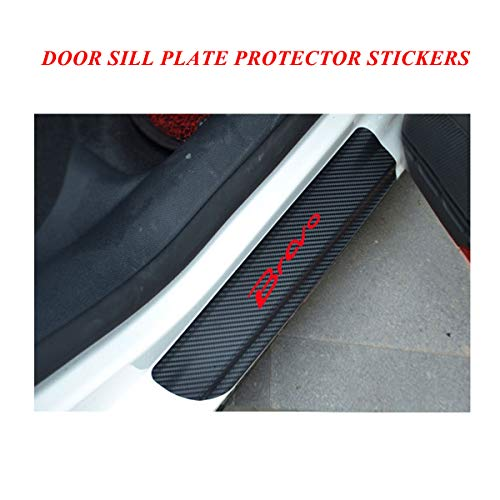 Door Sill Protector Cover with Bravo Logo, Door Sill protector film for Fiat series, Vinyl Door Sill Scuff Plate Protector Pedals Cover, Universal Car Door Sill Entry Guards Protector Stickers Red