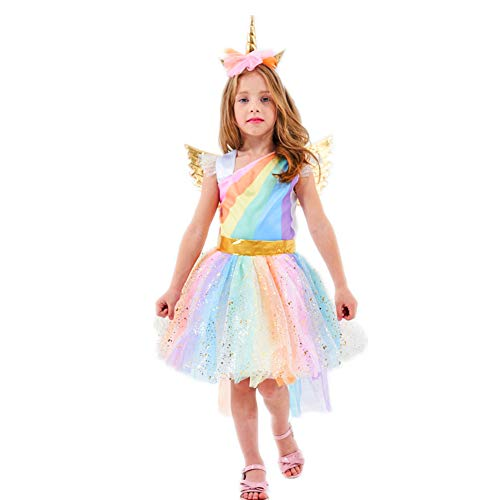 Rainbow Unicorn Costume Girls Dress with Gold Wing Headband Birthday Party Clothes (XL-140(9-10Y))]()