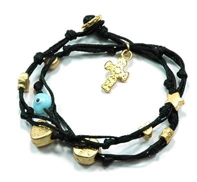 Amazon com: Women's Elegant Cotton Cord Charms Bracelet in Black and