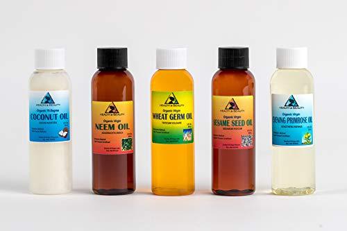 30% OFF LOT Coconut Oil 76 Degree, Neem Oil, Wheat Germ Oil Unrefined, Sesame Oil Unrefined, Evening Primrose Oil 2 oz each